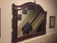 Large carved mahogany mirror