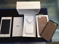 iPhone 6s plus 64gb Silver with warranty, receipt & leather Apple case