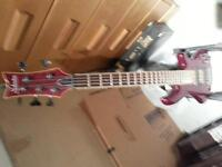 shecter elite 5 diamond series 5 string bass -with amp