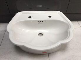 New White Ceramic Fordham Scalloped Edge Inset Hand Basin