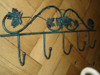 Wall Hangers / Hooks x5 for Coats etc. Metal with Verdigris Style Green finish.