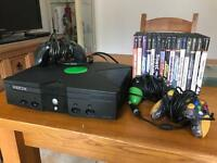 Xbox with cables, 3 controllers and 15 games