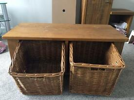 Real oak wood hall/shoe storage unit