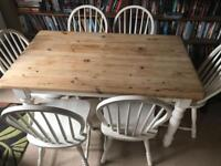 Shabby Chic Farmhouse Dining Table With 6 Chairs