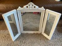 White Ornate Antique Design Dressing Table Mirror