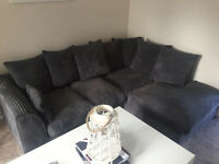 Corner Sofa - Charcoal colour - jumbo cord - 6 months old - great condition