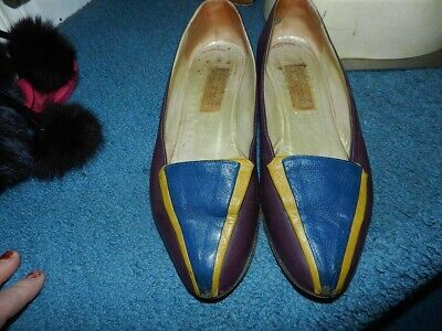GIANNI VERSACE Maroon/Blue/Yellow Flats SHOES SIZE EU 38 US 8.5 Vintage Italy