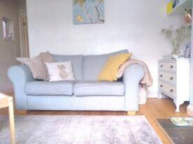 2 seater duck egg blue sofa