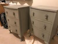 Set of 2 shabby chic grey bedside tables/mini chest of drawers