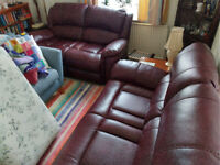 2 Burgundy 2/3 Seater Recliner Sofas