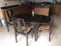 Hardwood extendable dining table and 4-chairs