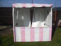 Mini Market Stall, Steel box frame with PVC covering pink white / Log cabin 6' x 4' Santa's grotto.