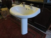 sink pedestal and brass solid taps, excellent condition