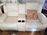Reclining massage chair & 2 seater reclining settee in cream leather
