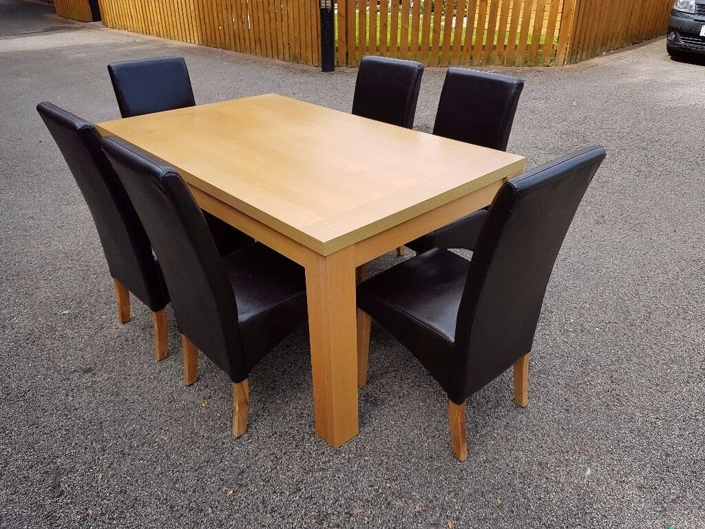 Oak Veneer Dining Table & 6 Black Leather Chairs FREE DELIVERY 053