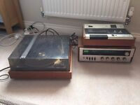 BSR McDonald TPD MP60 retro vinyl turntable wood record player stereo + amp + tape recorder