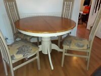 DINING TABLE round extendable dining table and chairs
