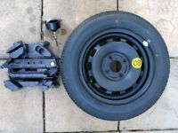 FORD FIESTA SPARE STEEL WHEEL/TYRE + JACK KIT AND RETAINING SCREW AND POLYSTYRENE COVER NEVER USED