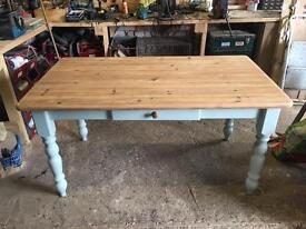 Farmhouse pine table with chairs