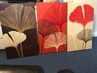 3x flower design canvases