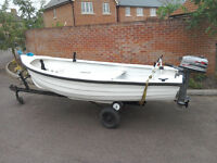13ft Fibreglass fishing boat, complete with trailer, lightboard, Mariner 4.0 Outboard etc....