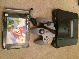 Nintendo 64 console and super mario 64
