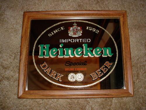 Vintage Heineken Dark Beer Amsterdam 1883 Mirror Sign Man Cave Bar