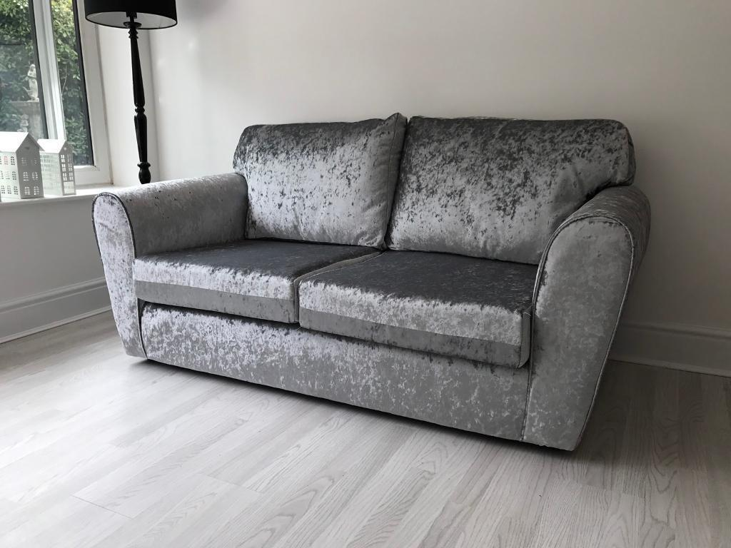Brand New 3 2 Seater Sofa Crushed Velvet Silver