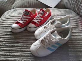 Genuine Adidas gazelle & converse trainers size 12