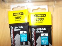 Stanley Light duty Staples 8mm and 10mm - 1000 in each