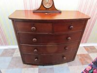Large Antique Victorian Bow Fronted Chest Of Drawers 2 over 3 graduated with turned Knobs GC