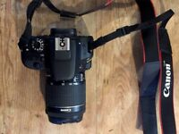 Canon EOS 100D camera, great condition, barely used – including lens, memory card and case
