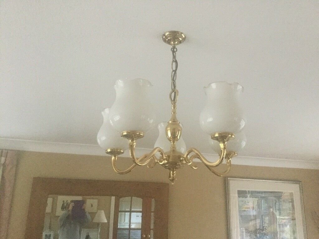 Centre light with tulip style glass shades. in sevenoaks kent gumtree
