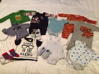 MASSIVE BUNDLE OF BABY BOY CLOTHES. 60+ ITEMS. 0-3 MONTHS. VGC. MANY BRANDS. SOME NEVER WORN.