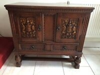 VERY ATTRACTIVE BEAUTIFULLY CARVED OAK SIDEBOARD, LOOK AT THE CARVINGS ON THE CUPBOARDS ALL ORIGINAL