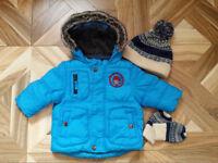 Baby boy jacket 6-9 months and hat/gloves 6-12 months