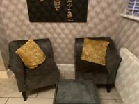 Grey velour DFS chairs and small table great condition