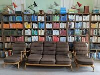 Ercol 3 seater sofa suite + two armchairs + covers, blue label natural finish vintage gplanera