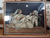Indian Two Lovers on a Beach Print on Fabric with Sequins in Glass Frame
