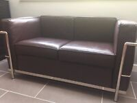 Brown Leather/chrome rail - 2 seater loveseat