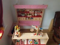 Wooden Play Shop / Market Stall / Supermarket with Awning (Red, White, Natural Birch)