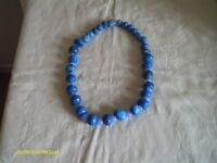 """Retro Heavy Man-Made Choker Necklace Made of Plaster and Resin Painted Blue 24"""""""