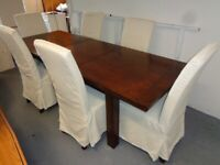 Extending Dark Hardwood Rectangular Dining Table & 6 Chairs