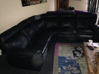 5 seater corner leather settee recliner