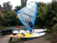 MISTRAL SCREAMER and BIC VELOCI Windsurfing boards,2masts, 2booms,3 sails,harness,accessories,bags