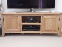 Solid Oak Wide Tv Unit as new only 6 months old