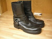 HARLEY DAVIDSON LEATHER HARNESS MOTORCYCLE BIKER ZIPPED BOOTS EXCELLENT SIZE 8.5 /8/9 READ