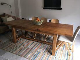 Solid oak extending farmhouse table