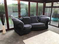 Black Suede And Grey Fabric Curved 3 Seater Corner Sofa Delivery Possible