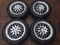 "4 x 15"" DOTZ MUGELLO POLISHED DEEP DISH ALLOY WHEELS 5x100 5 100 VOLKSWAGEN VW GOLF AUDI MK4 POLO"